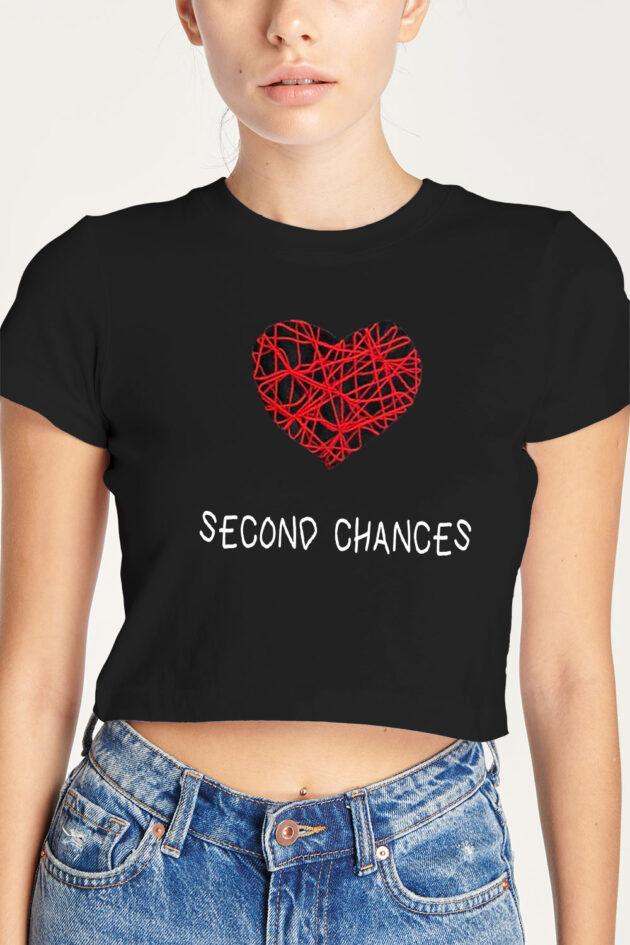 F. Camiseta negra estampado corazón «Second Chances»